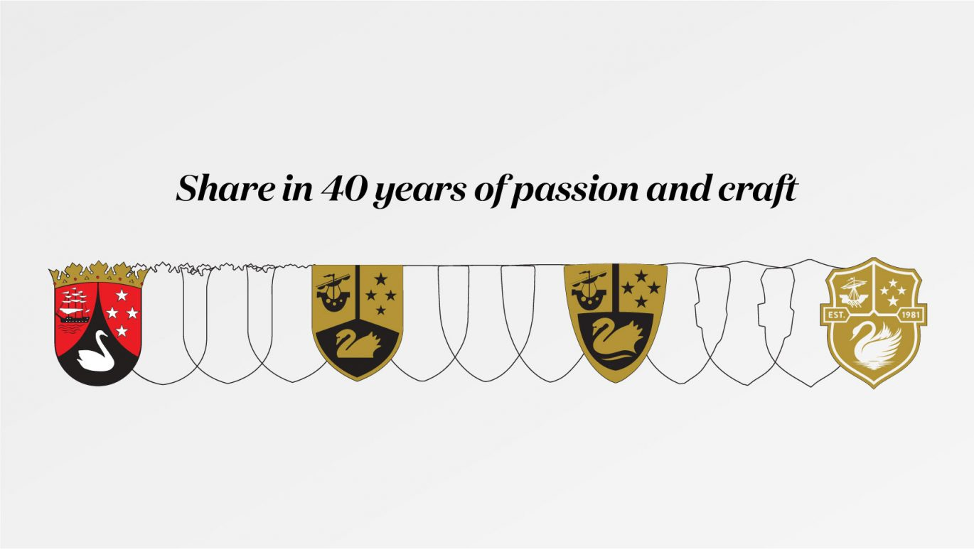 Evolution of the Giesen crest over time with the heading 'Share in 40 years of passion and craft'
