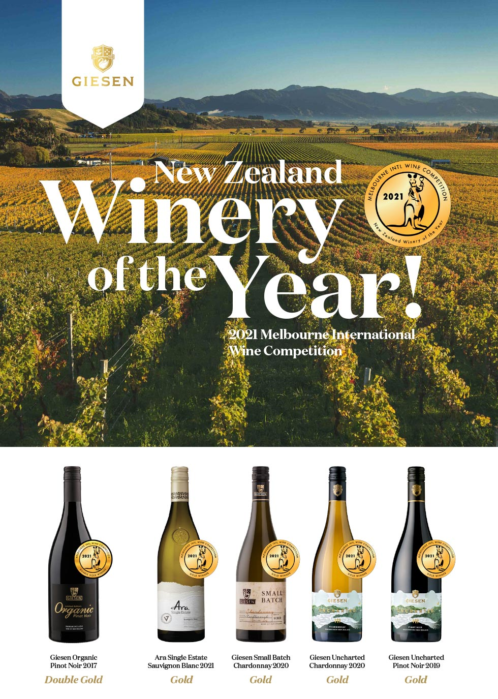 New Zealand Winery of the Year 2021 Awards from Melbourne International Wine Competition